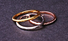 LADIES SET OF 3 GOLD/ROSE GOLD/ SILVER RING SET PLAIN KNURLED DESIGN(ZX35)
