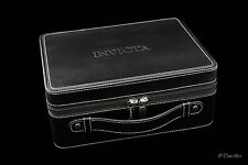Invicta 8-slot Luggage Style Leatherette Travel Case - Black