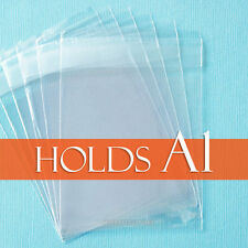 "100 Clear Cello Bags,3 13/16"" x 5 3/16"" inch, for A1 Card + Envelope. Cellophane"