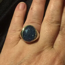 Ring Ti Sento Sterling Silver with denim set under crystal Dress Ring Cabochon