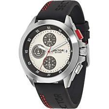SECTOR MEN'S BLACK LEATHER BAND STEEL CASE QUARTZ WHITE DIAL WATCH 3271687003