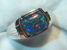 Mens Opal Ring Sterling Silver, Natural Opal Triplet. 10x8mm Rectangle. 060644