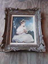 Antique Oil on Canvas Age of Innocence Sir Joshua Reynolds Hand Carved Frame Old