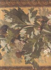 Wallpaper Border LARGE Arts and Crafts Architectural Floral Leaf Garland Orange