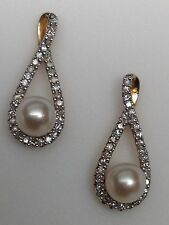 Brand New 10K Yellow Gold Cultured Pearl and Pave Set Diamond Stud Earrings!