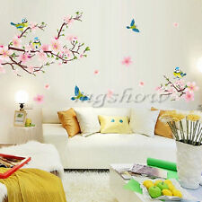 Peach blossom Birds Flowers Colorful Living Room Home Art Removable Wall Sticker