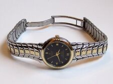 CROTON Equator 18k GOLD Crown Bezel Bracelet Black Dial Steel SWISS