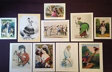 LOT of 10 Currier & Ives Vintage GIRLS, WOMEN, & LOVERS COLOR Art Lithographs