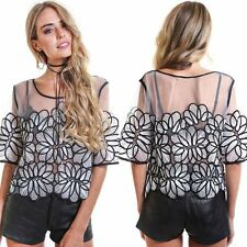 Fashion Womens Summer Short Sleeve Casual Blouse Loose Lace Floral Tops T Shirt