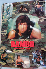 RARE FIRST BLOOD RAMBO 2 STALLONE 1985 VINTAGE ORIGINAL MOVIE PIN UP POSTER