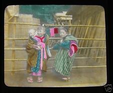 GLASS MAGIC LANTERN SLIDE CHILDREN AT MIYANOSHITA C1910 JAPANESE JAPAN HAKONE