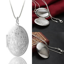 New Women Vintage Silver Oval Locket Pendant With Snake Chain Necklace Gift