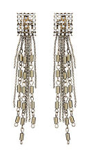 CLIP ON EARRINGS - antique gold with crystals and a long chain fringe - Bettina