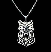 ❤ collar con remolque oso pendant, Necklace Bear plata