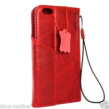 Genuine retro leather Case for apple iphone 6s plus book wallet cover Red magnet