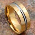 Titanium Ring 14K Gold Men's Wedding Band Silver Color Line Jewelry Size 6-13
