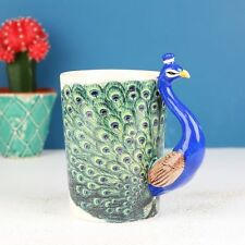 GIFT BOXED Peacock Mug Hand Painted Coffee Tea Cup Bird Handle Blue Green Retro