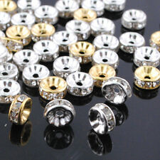 100pcs Czech Crystal Rhinestone Spacer Beads From 4mm-12mm Silver or Gold
