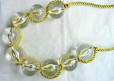 CHUNKY STATEMENT NECKLACE – GIANT ROUND CLEAR BEADS & GLITTERY GOLD DETAIL - NEW