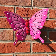 BUTTERFLY LARGE PINK METAL BUTTERFLIES WALL ART OUTDOOR GARDEN DECORATION