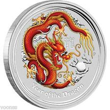 Perth Mint Australia 2012 Dragon Red Colored 5 oz .999 Silver Coin