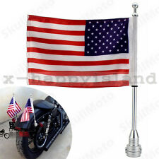 Motorcycle Flag Mount Pole Kits USA American Flagpole for Harley Davidson 2/PACK
