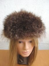 SHOWROOM NEW NATURAL RACCOON FUR HAT CAP LEATHER WOMEN WOMAN SIZE ALL