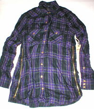 New Womens Designer True Religion XS Plaid Top Logo Black Purple NWT Tunic Zip