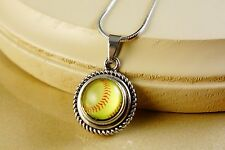 SOFTBALL SNAP BUTTON ON SMALL ROUND SILVER PENDANT W/ NECKLACE