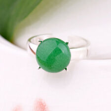 Charm Noble Women Fashion Green Jade Opening Round White Gold Plated Ring