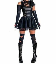 Sexy Black Faux Latex Look Dress Goth Punk Flared Skirt Ripped Style