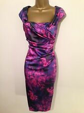 STUNNING COAST ALVA FLORAL SATIN  WIGGLE DRESS OCCASION  SIZE 12