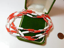"""Vintage Red White Flapper Bead Nautical Long 48"""" Necklace 12f 55"""