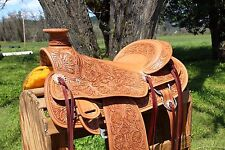 """17"""" FLORAL WESTERN WADE ROPING PLEASURE TRAIL LEATHER COWBOY RANCH SADDLE TACK"""