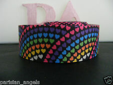 """1"""" (25mm) Grosgrain Ribbon - By the Metre - #4429 Paved  Coloured Hearts"""