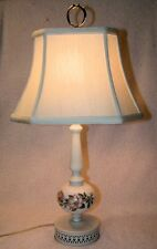 Vintage SHABBY CHIC White Milk Glass Pink Dogwood Lace Metal Table Lamp Light