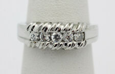 Sterling Silver .925 Multi Cubic Zirconia Wedding Band Ring Sz 7 4.7g G198