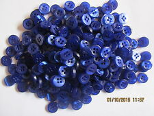 100 x 9mm Size 14 Royal Blue 4 Hole Resin Craft Knit Scrap Book Sewing Buttons