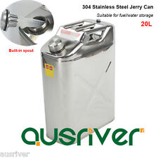 New 304 Stainless Steel Jerry Can 20L Drinking Water/Fuel Storage 4WD Motorbike
