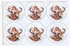 Badge & Novelty Co Baltimore MD, woman deer Antlers Pin button paper label #12