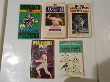 5 VINTAGE BASEBALL WORLD SERIES, GREAT PITCHERS ,YEARBOOK ,PAPERBACKS
