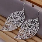 Wholesale Price 925Sterling Silver Lovely Large Leaf Shape Dangle Earrings E128