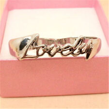 Vintage silver tone word lovely double finger ring