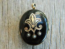 10k Gold Fleur-de-lis antique locket seed pearls 7.8 grams scrap