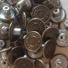"""APPROX 20MM (25/32"""") HAMMER ON DENIM/ JEAN BUTTONS X 100 - ANTIQUE COPPER ***"""