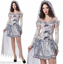 Signore sposa fantasma halloween Cimitero Ghoul CADAVERE Fancy Dress Costume 12/14