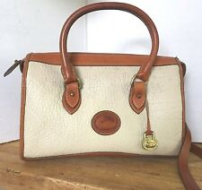 DOONEY & BOURKE CLASSIC SATCHEL PEBBLE BEIGE BROWN LEATHER ZIP TOP SHOULDER BAG