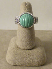Judith Ripka Sterling Carved Turquoise (?) Diamonique Ring - 5-1/4