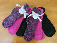 Ellen Tracy 6 Pair Women's Warm Fuzzy Chenille Slipper Socks Berry Combo $36.00