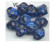 NEW RPG Dice Set of 10D10 - Oblivion Blue